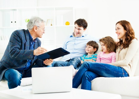Family discussing life insurance