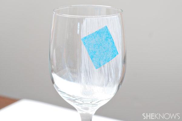 Elijah's cup - stick squares on glass