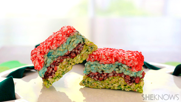 Rainbow crispy rice cereal treats