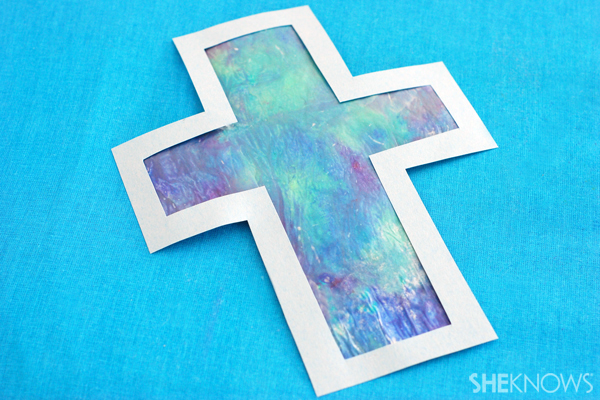melted wax cross sun catcher craft