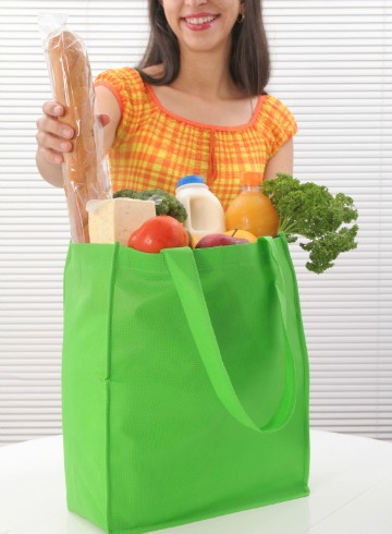 Woman with green tote