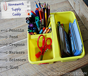 Homework supply caddy