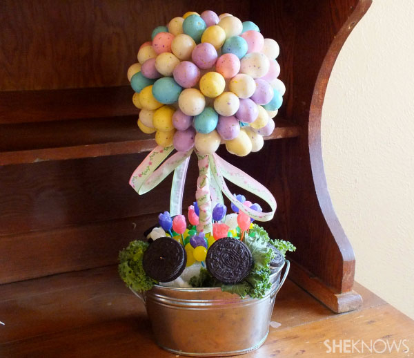 Malted milk egg topiary
