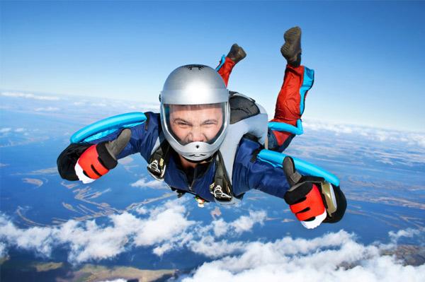 Man sky diving