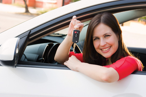 Woman on a test drive