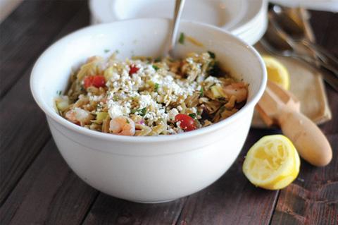 Greek shrimp orzo salad