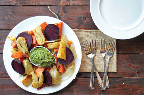 chili roasted root vegetables with poblano pesto