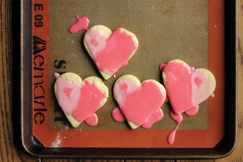 painted heart valentine's cookies