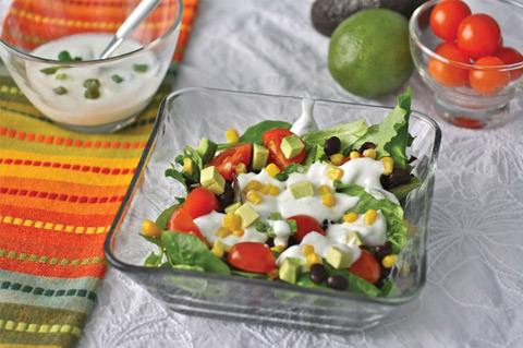 Southwest salad with creamy lime dressing