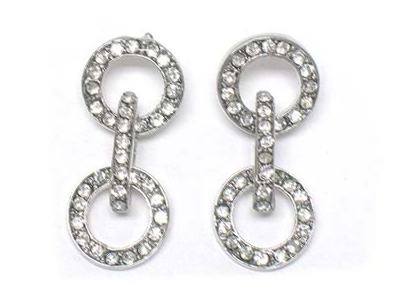 Crystal Double Circle Drop Earrings