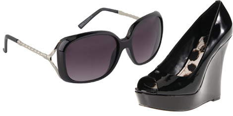 Jessica Simpson maternity style sunglasses and wedges