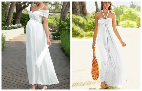 Kim Kardashian white maxi maternity dress picks