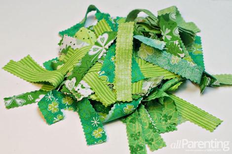 allParenting St Patricks day rag wreath step 3