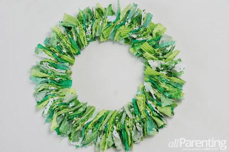 allParenting St Patricks day rag wreath step 7