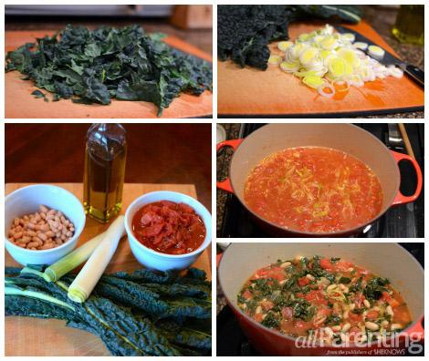 Vegan Tuscan bean soup collage