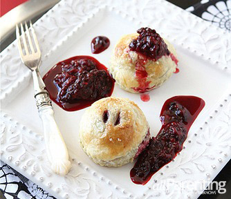 """Puff pastry """"ravioli"""" with Gingersnap mascarpone & marionberry sauce"""