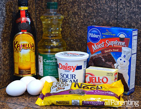 Chocolate Kahlua cake ingredients
