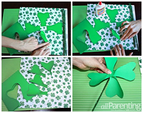 Shamrock pinwheels gluing and prepping