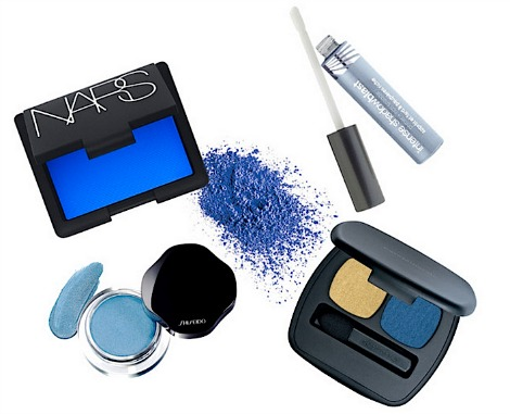 Spring makeup blue eyeshadow products