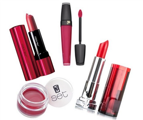 Spring makeup red lip products