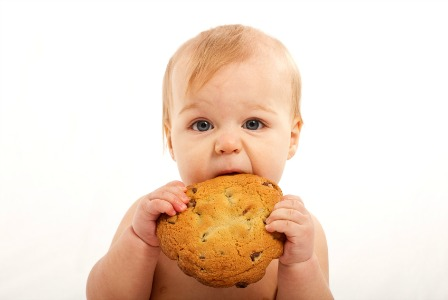 Baby with big cookie
