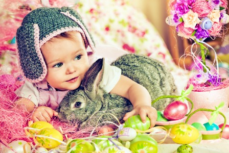 Easter baby with bunny