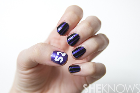 Baltimore Ravens football nail design