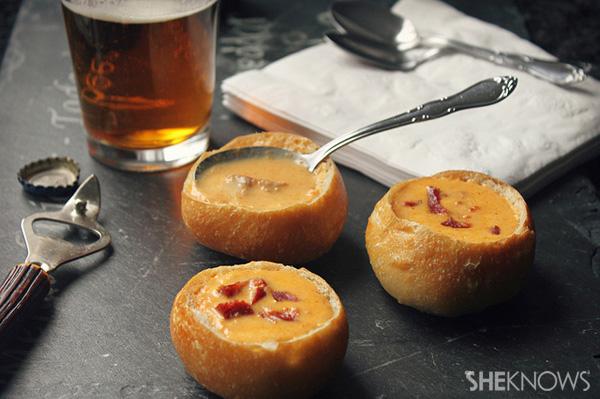Beer and cheddar cheese soup in mini bread bowl recipe