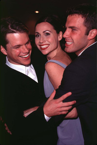Matt Damon, Minnie Driver and Ben Affleck at the premiere of Good Will hunting.
