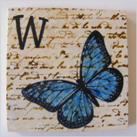 Monogram Cobalt Blue Butterfly Coaster Set, $15.00