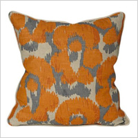 Leopard Print Ikat Orange Throw Pillow, $49.99