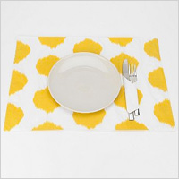 Ikat Dot Placemat in Yellow, $8.00