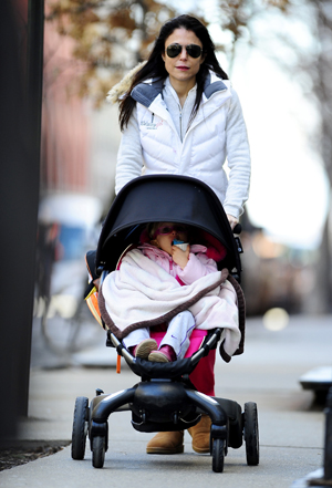 Bethenny Frankel pushing a stroller