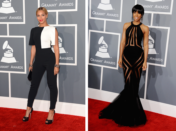Beyonce and Kelly Rowland at the 2013 Grammy Awards