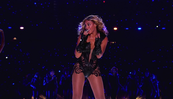 Beyoncé at the Super Bowl halftime show.