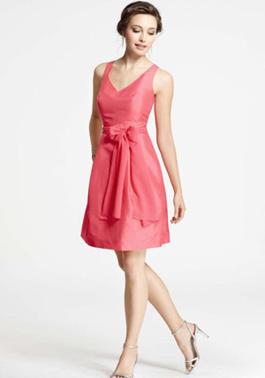 Ann Taylor Silk Dupioni V-Neck Dress