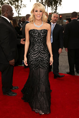 Carrie Underwood wearing Roberto Cavalli at The Grammys