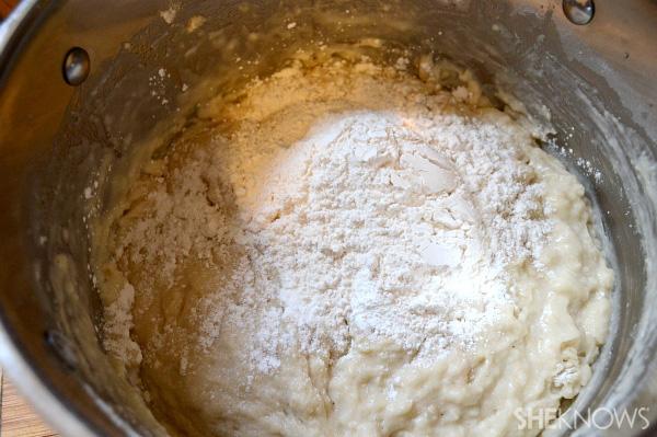 Mix in baking powder, soda & flour