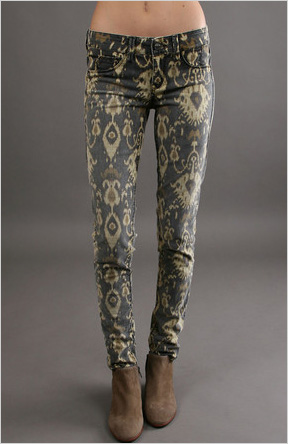 SOLD Design Lab Ikat Print Skinny Jeans