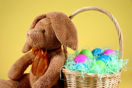 Stuffed bunny with Easter basket