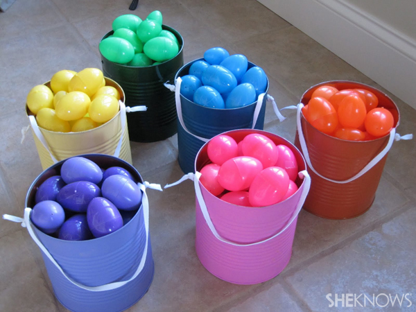 Colorful paint cans for Easter egg hunt