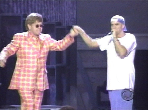 Eminem and Elton John perform at the 2001 Grammy Awards.