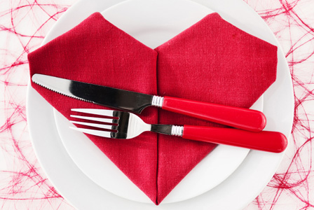 A pink and red valentine's day menu