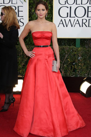 Jennifer Lawrence In Dior Haute Couture at the 70th annual Golden Globe Awards
