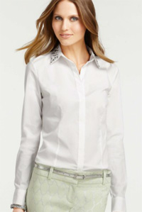 Ann Taylor Bejeweled Collar Perfect Button Down Shirt