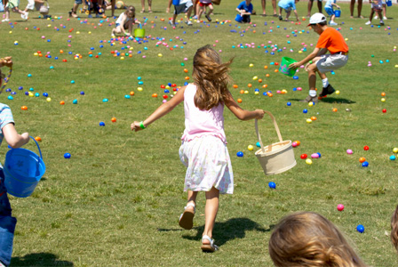 Kids running for Easter eggs
