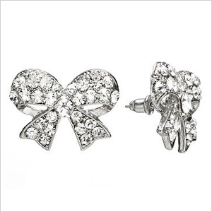 Candies Silver Tone Simulated Crystal Bow Stud Earrings