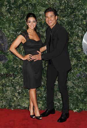 Mario Lopez and Courtney Mazza at the QVC Oscars pre-party