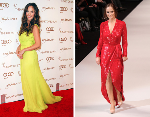 Minka Kelly wearing an Oscar de la Renta dress at the 2012 Art of Elysium gala and Minka Kelly wearing a custom made DVF dress at the 2012 Heart for Truth