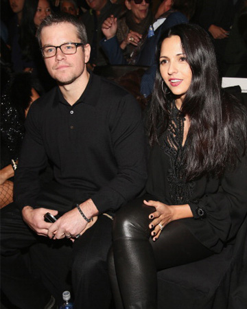 Matt Damon and wife at Naeem Khan show